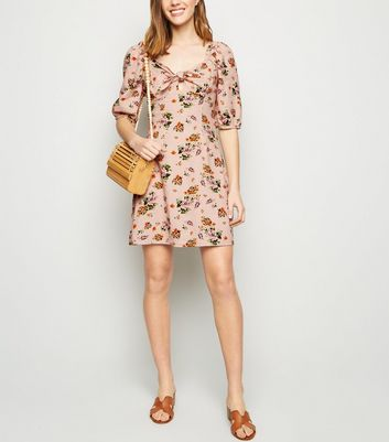 Pink Floral Linen Blend Milkmaid Dress