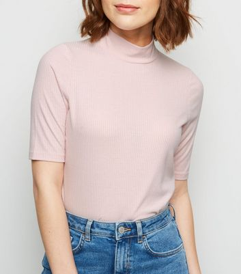 Pink Ribbed Turtleneck Top by New Look