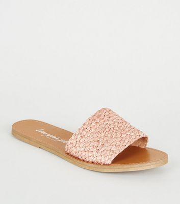 Coral Woven Strap Sliders
