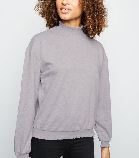 7505e76e5afe8c ... Grey Frill High Neck Jumper ...