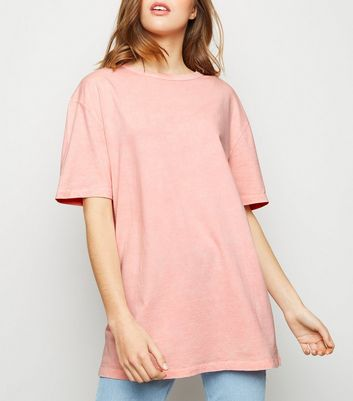 Mid Pink Acid Wash Oversized T-Shirt