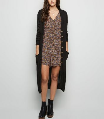 Black Fine Knit Button Up Longline Cardigan