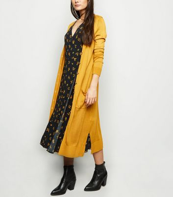 Mustard Fine Knit Button Up Longline Cardigan