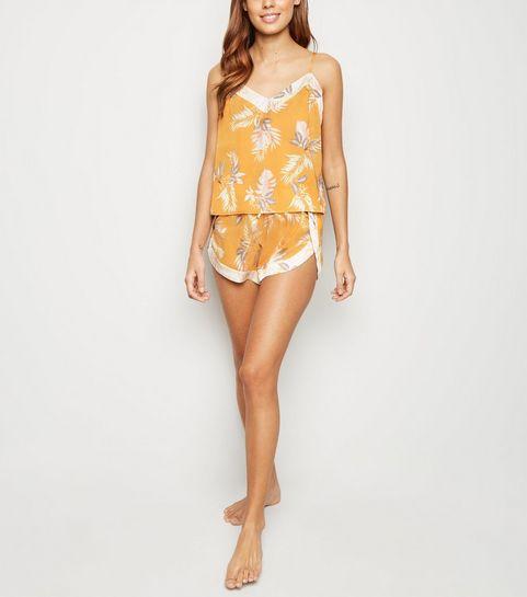 387a0e35a2a7 ... Gold Tropical Satin Pyjama Cami ...