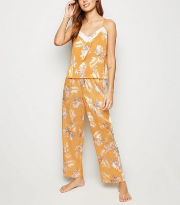 Gold Tropical Satin Pyjama Trousers