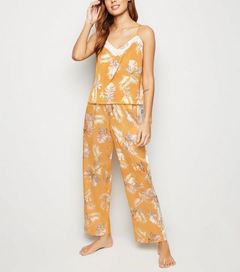 9b9da7793d5a Gold Tropical Satin Pyjama Trousers · Gold Tropical Satin Pyjama Trousers  ...