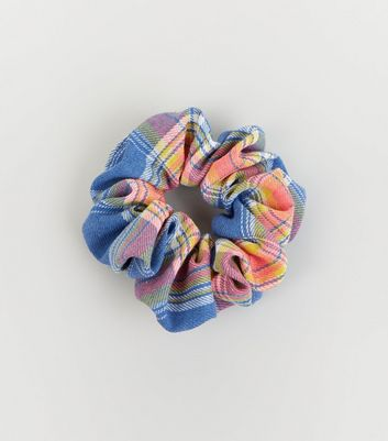 Multicoloured Check Print Scrunchie