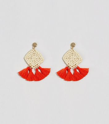 Red Diamond Woven Raffia Tassel Earrings