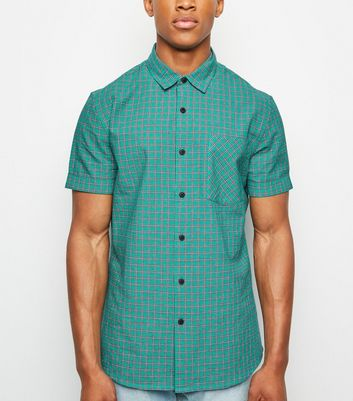Green Check Print Short Sleeve Shirt
