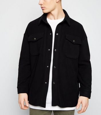 Black Fleece Popper Front Shacket