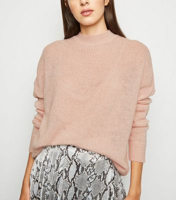 Pale Pink Knitted Long Sleeve Jumper