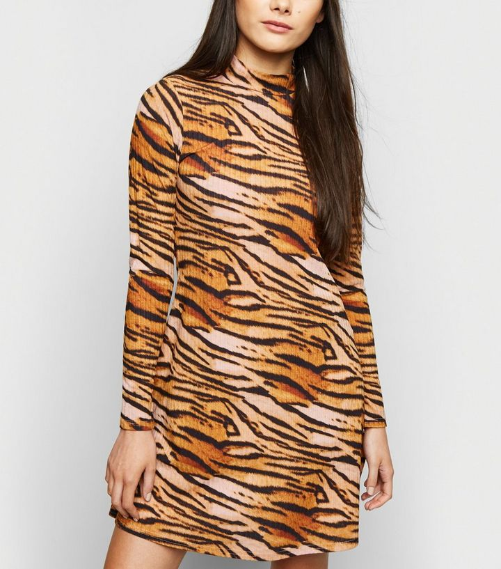 3ed92182 Pink Tiger Ribbed Turtleneck Midi Dress | New Look