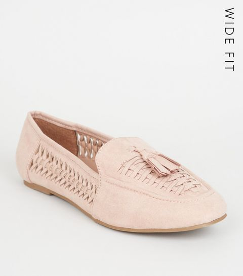 3852d251442 ... Wide Fit Nude Sudette Woven Panel Loafers ...