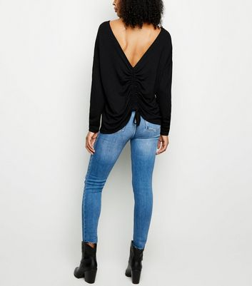 Black Ruched Back Fine Knit Top