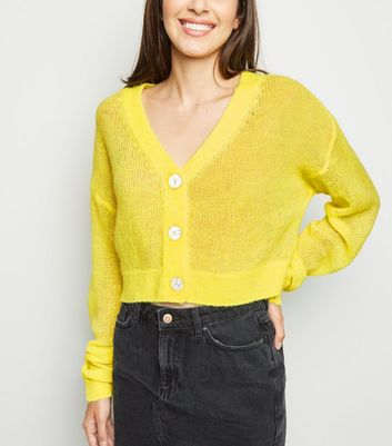 Yellow Neon Button Front Crop Cardigan