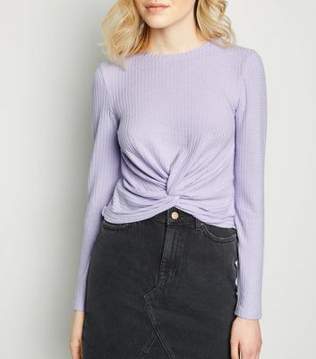 Lilac Twist Front Long Sleeve Crop Top