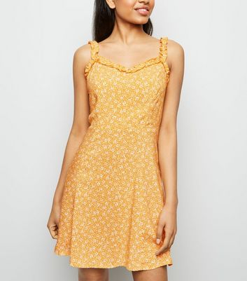 Petite Orange Ditsy Floral Frill Sundress