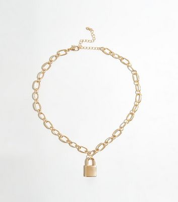 Gold Padlock Pendant Chunky Chain Necklace