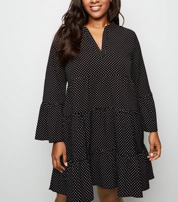 Curves Black Spot Tiered Smock Dress