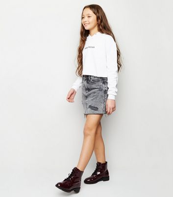 Girls Black Acid Wash Denim Mom Skirt