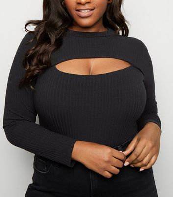 Curves Black Ribbed Cut Out Bodysuit