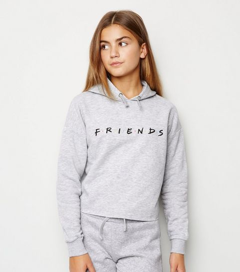 f2709663c9e09 ... Girls Grey Friends Slogan Hoodie ...