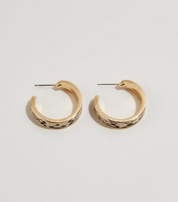 Gold Snake Print Mini Hoop Earrings