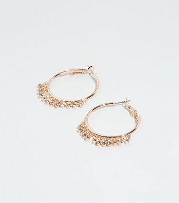 Rose Gold Diamanté Charm Hoop Earrings