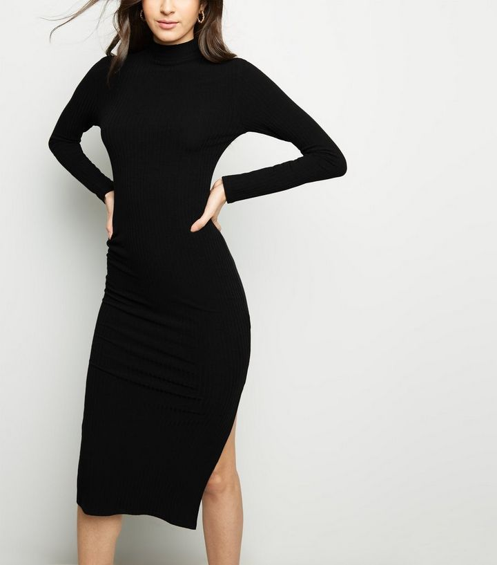 a26496a38ec1 Black High Neck Side Split Bodycon Midi Dress