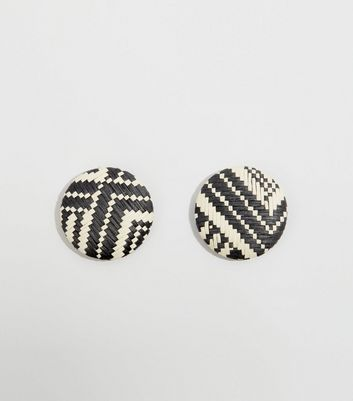 Black Raffia Stud Earrings