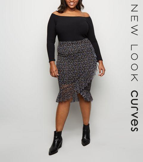 0265422386a ... Curves Black Ditsy Floral Mesh Midi Skirt ...