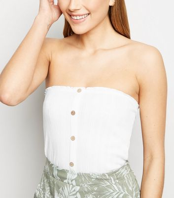 White Ribbed Button Bandeau