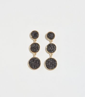 Black Triple Drop Raffia Disk Earrings