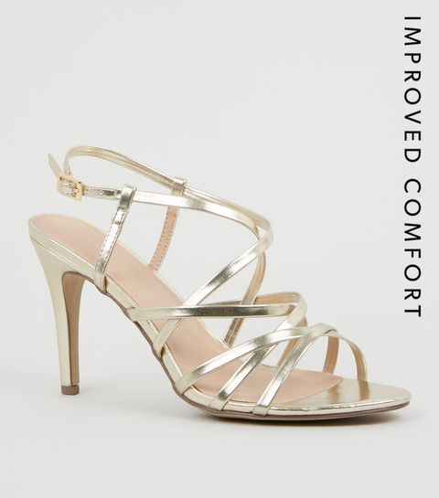 74ad1c00f7bf ... Gold Metallic Leather-Look Strappy Stiletto Heels ...