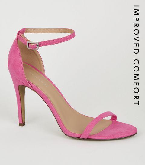 646bab0c578 ... Bright Pink Suedette 2 Part Heels ...