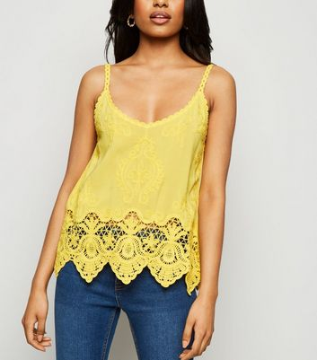 Petite Yellow Crochet Trim Cami