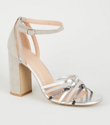 Grey Mix Strap Block Heel Sandals