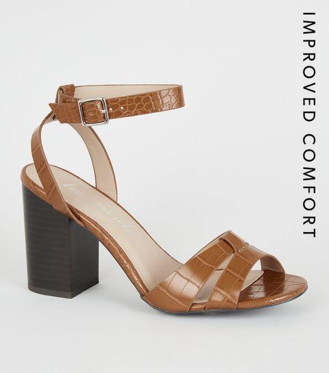 93f6eb760647 ... Tan Faux Croc 2 Part Block Heels ...