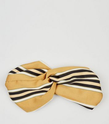 Mustard Stripe Wide Twist Headband