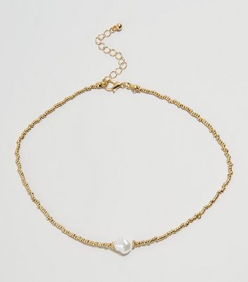 Gold Baroque Faux Pearl Choker