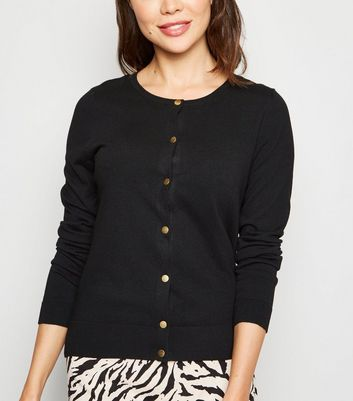 Black Popper Front Cardigan