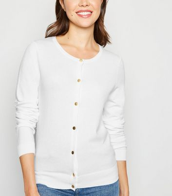 White Popper Front Cardigan