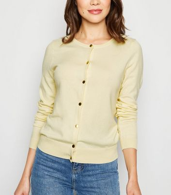 Pale Yellow Popper Front Cardigan
