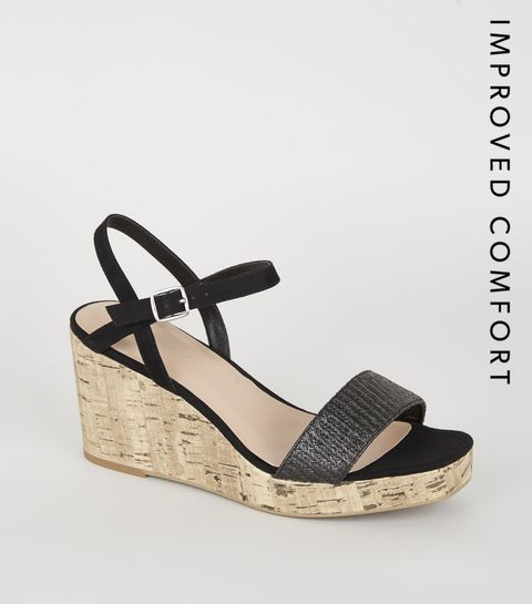 3d864eb24f6a ... Black Woven Strap Cork Wedges ...