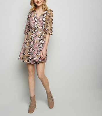 Blue Vanilla Pink Snake Print Wrap Dress