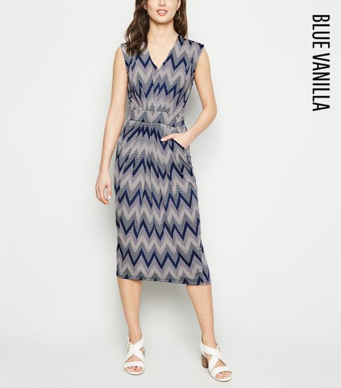 f3a78ef04a ... Blue Vanilla Navy Zig Zag Textured Midi Dress ...