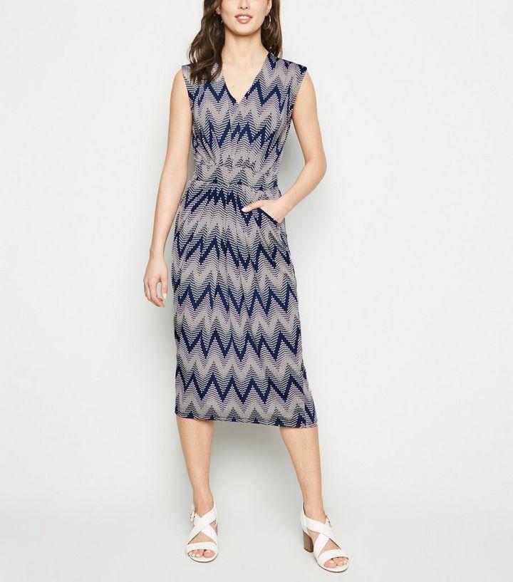 6cb2887333e3 Blue Vanilla Navy Zig Zag Textured Midi Dress | New Look