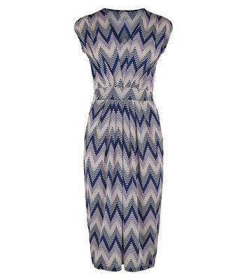 shop for Blue Vanilla Navy Zig Zag Textured Midi Dress New Look at Shopo