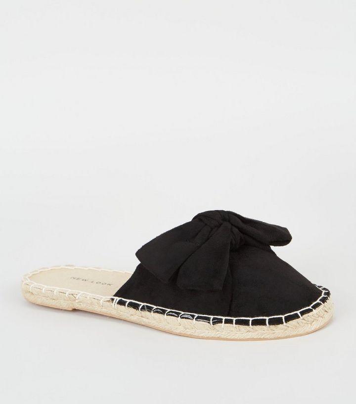d2b1da4d2 Black Suedette Bow Espadrille Mules | New Look
