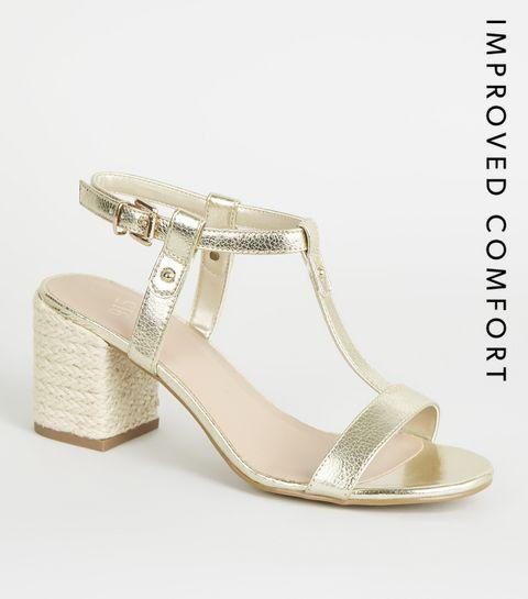 a44b1f5e46d ... Girls Gold T-Bar Espadrille Block Heels ...